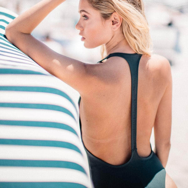 Dusk Deep V One Piece Swimsuit in Licorice - the sea collective