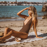Dusk Deep V One Piece Swimsuit in Mocha - the sea collective