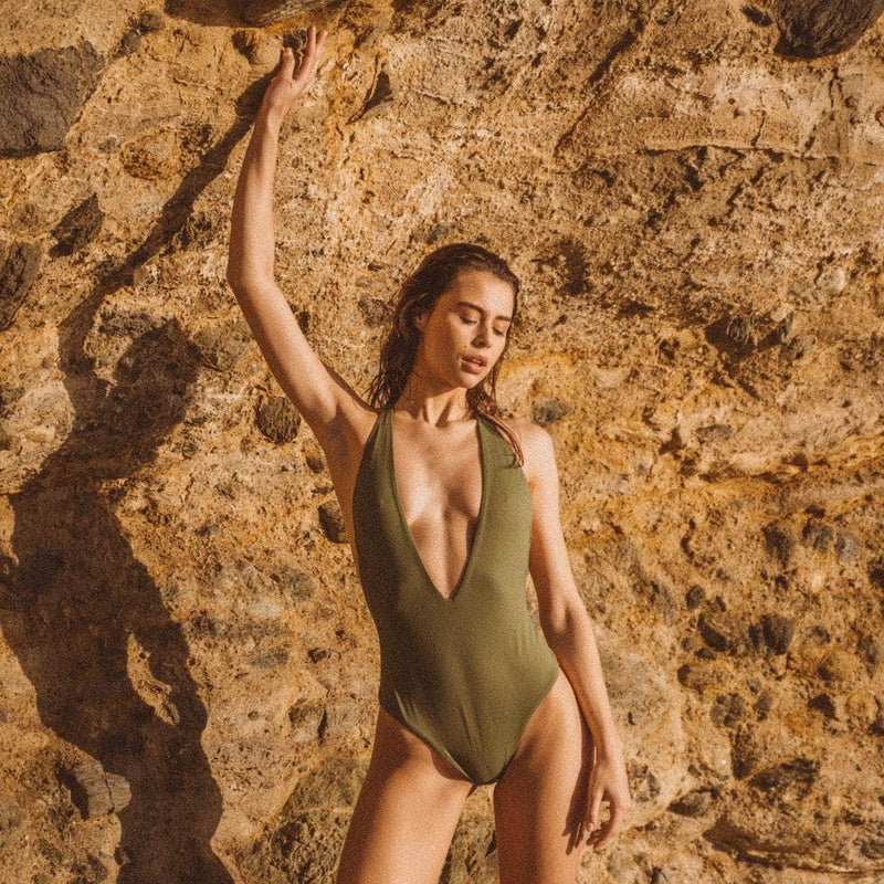 Dusk Deep V One Piece Swimsuit in Olive - the sea collective