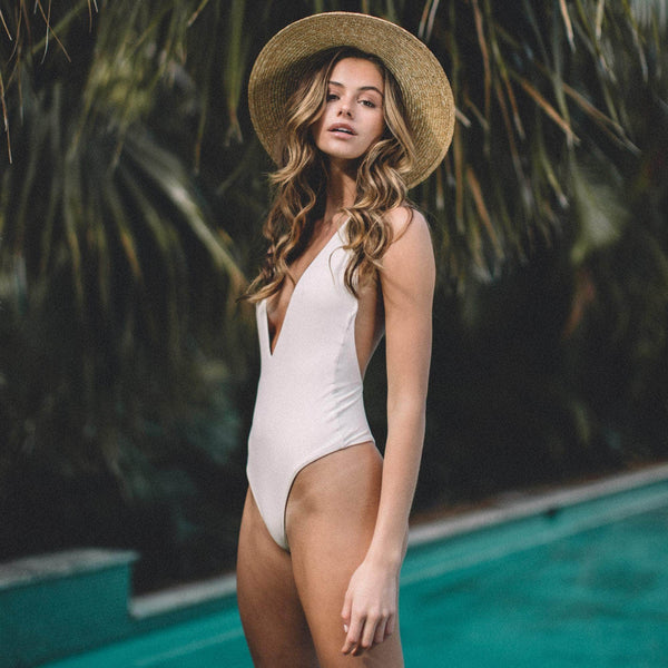 Dusk Deep V One Piece Swimsuit in Raw - the sea collective