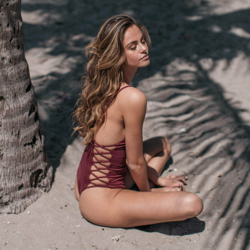 Maze One Piece Swimsuit in Maroon - the sea collective