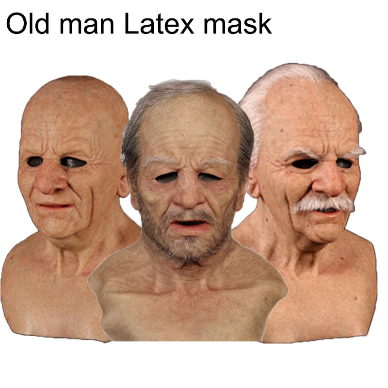 Old Man Scary Latex Mask Cosplay Scary Full Head Special For Christmas