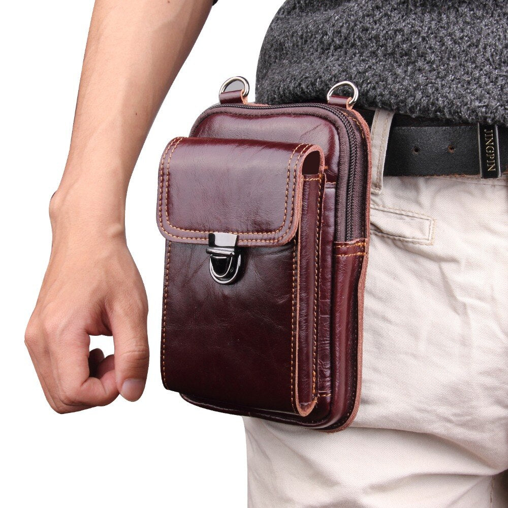 GENUINE LEATHER OUTDOOR BELT WAIST BAG - LIMITED EDITION