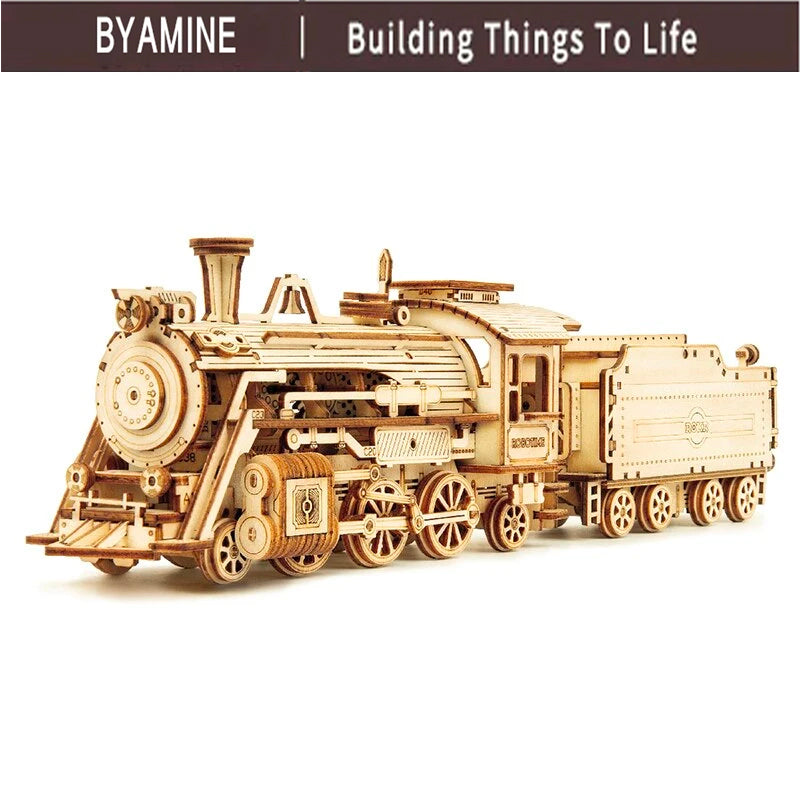 Train Model 3D Wooden Puzzle Toy Assembly