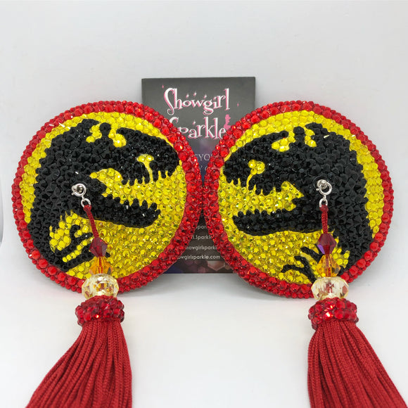 Bespoke Pasties Custom Jurassic Park Crystal Rhinestone Burlesque Pasties with Tassels for Pearl Reckless - Showgirl Sparkle