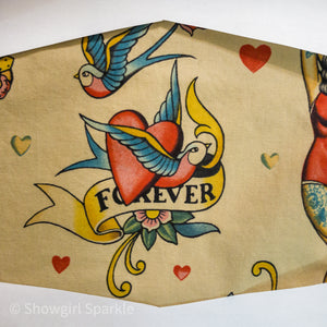 "Cloth Mask Tattoo Collection - ""Forever"" Vintage Flash Fabric Mask - Showgirl Sparkle"