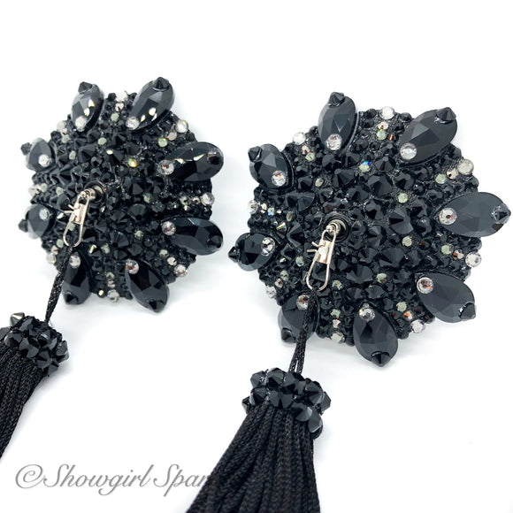 Bespoke Pasties Femme Goth Rhinestone Burlesque Pasties (with or without Tassels) - Showgirl Sparkle