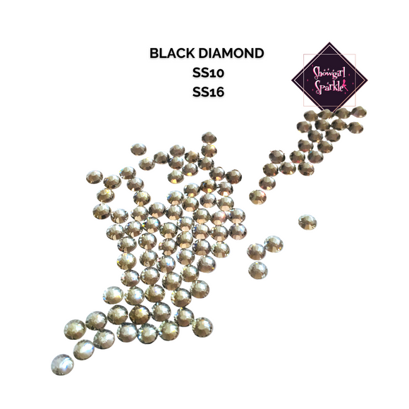 Rhinestones Black Diamond Flatback Glass Rhinestones - Showgirl Sparkle