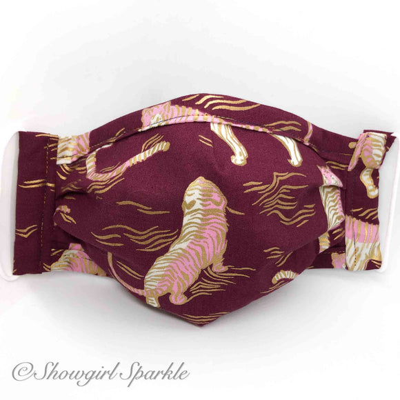 Cloth Mask Burgundy Tiger Fabric Mask - Showgirl Sparkle
