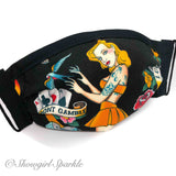 "Cloth Mask Tattoo Collection - ""Don't Gamble"" Black Fabric Mask - Showgirl Sparkle"