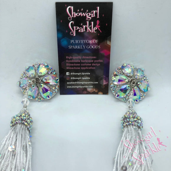 Pasties Follies Crystal Rhinestone Burlesque Pasties with or without Tassels - Showgirl Sparkle