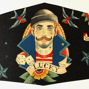 "Cloth Mask Tattoo Collection - ""Lucky"" Black Fabric Mask - Showgirl Sparkle"