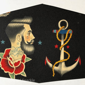 "Cloth Mask Tattoo Collection - ""Man and Anchor"" Black Fabric Mask - Showgirl Sparkle"