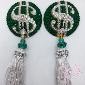 Bespoke Pasties Make That Money Crystal Rhinestone Burlesque Pasties (with or without Tassels) - Showgirl Sparkle