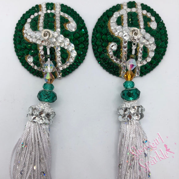 Pasties Make That Money Crystal Rhinestone Burlesque Pasties with or without Tassels - Showgirl Sparkle