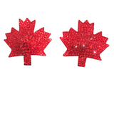 Bespoke Pasties Maple Leaf Crystal Rhinestone Burlesque Pasties (with or without Tassels) - Showgirl Sparkle