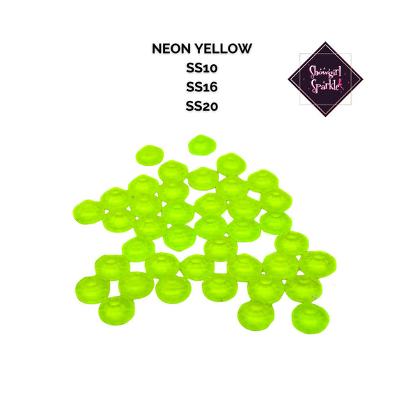 Rhinestones Neon Yellow Black Light Reactive Glass Rhinestones - Showgirl Sparkle