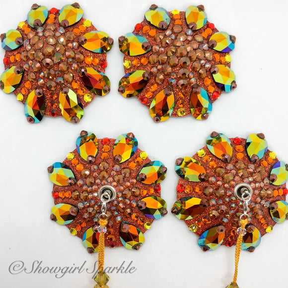 Bespoke Pasties Tuscan Sun Crystal Rhinestone Burlesque Pasties (with or without Tassels) - Showgirl Sparkle