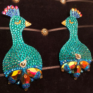Bespoke Pasties Peacock Crystal Rhinestone Burlesque Pasties (with or without Tassels) - Showgirl Sparkle