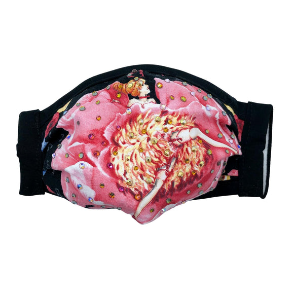 Cloth Mask Can-Can Collection - Pink Showgirl Fabric Mask - Showgirl Sparkle