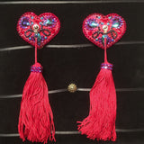 Bespoke Pasties Sacred Heart Crystal Rhinestone Burlesque Pasties (with or without Tassels) - Showgirl Sparkle