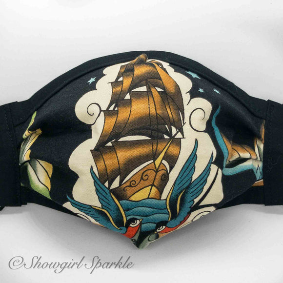 Cloth Mask Ships and Seas Fabric Mask - Homeward Bound - Showgirl Sparkle