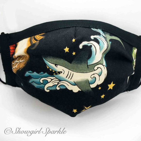 Cloth Mask Ships and Seas Fabric Mask - Shark - Showgirl Sparkle