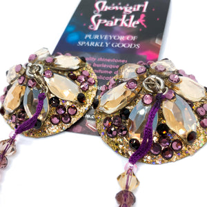 Ready-to-Wear Pasties Small Golden Plum Pasties with Long Elegant Tassels - Ready To Wear - Showgirl Sparkle
