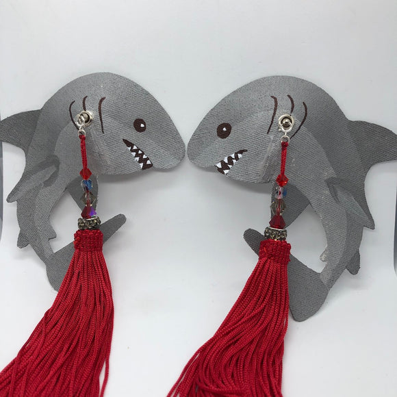Pasties Unstoned Shark Burlesque Pastie Bases with Red Tassels for Icyy - Showgirl Sparkle