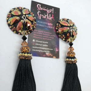 Bespoke Pasties Black and Gold Crystal Rhinestone Burlesque Pasties with or without Tassels - Showgirl Sparkle