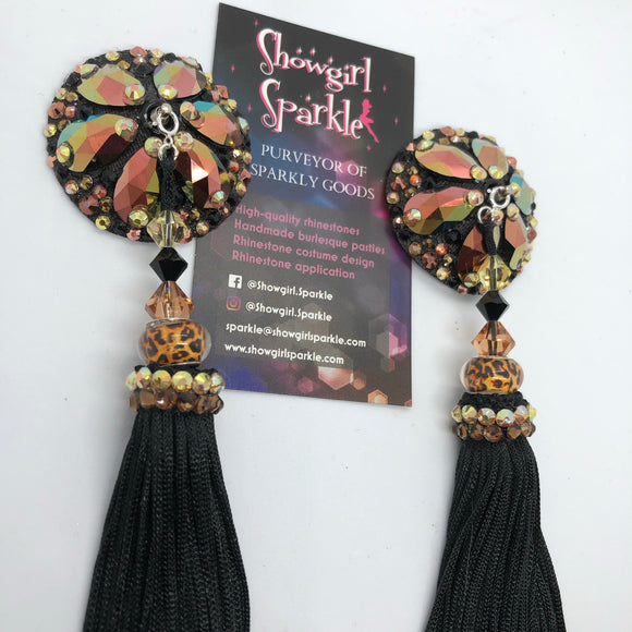 Bespoke Pasties Black and Gold Crystal Rhinestone Burlesque Pasties (with or without Tassels) - Showgirl Sparkle