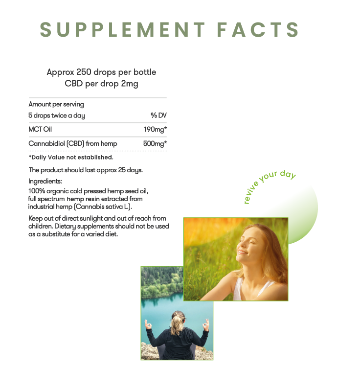 Revivo 500mg Full Spectrum CBD Oil Supplement Facts