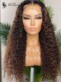 Highlight Brown Color Curly Bleached Virgin Hair 13*6 Lace Front Wig ULWIGS147