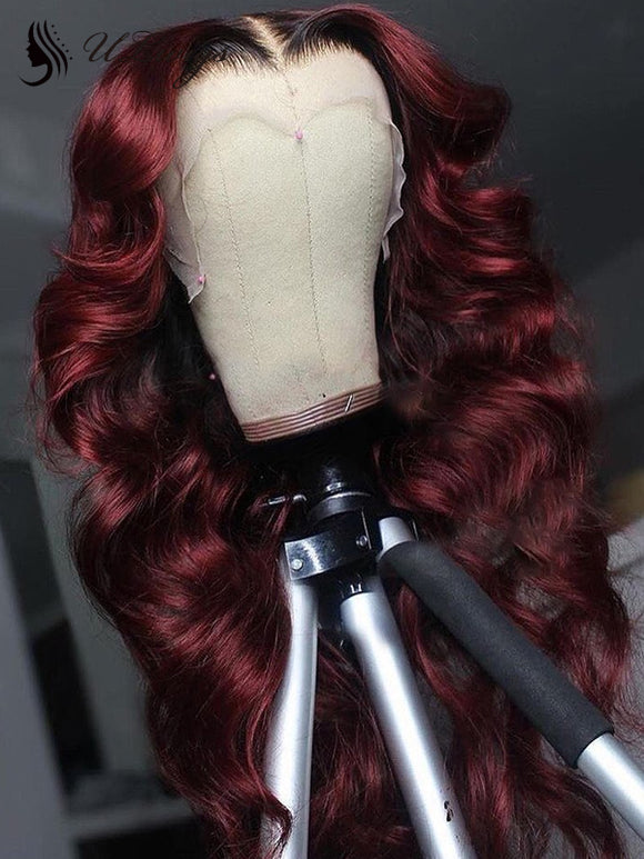 Brazilian Virgin Hair Lace Front Wig T1b/99j Color Human Hair Wavy  Wig ULWIGS150