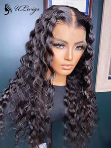 Thick Virgin Human Hair Deep Wave 360 Lace Frontal Wigs With Fake Scalp ULWIGS149