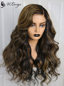 2020 New Highlight Color Wavy 100% Virgin Human Hair 360 Lace Frontal Wig ULWIGS140