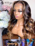 Highlight Brown Color Wave Bleached Virgin Hair Transparent lace Wig ULWIGS166