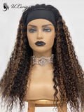 Highlight Brown Color Curly Virgin Hair Headband Wig ULWIGS162