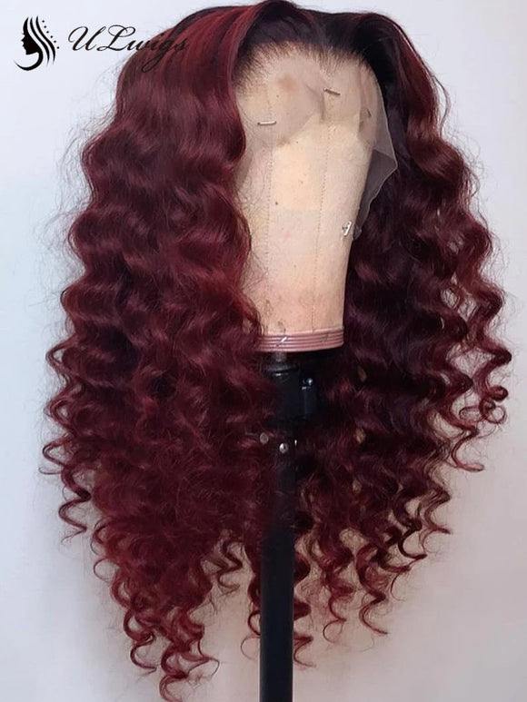 Best Virgin Human Hair Burgundy Color Wavy Lace Front Wig ULWIGS117