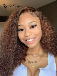 Best Vrigin Luxy Hair Curly Lace Front Wig Pre Plucked #4 Brown Color Hair With Bleached Knots ULWIGS116