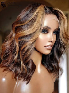 Blonde and Brown Balayage Wavy Bob Human Hair Lace Front Wigs ULWIGS163
