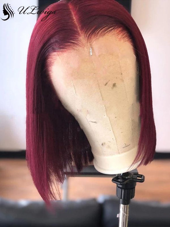 Bright Burgundy Color Bob Cut Virgin Human Hair Wig [ULWIGS74] - ULwigs