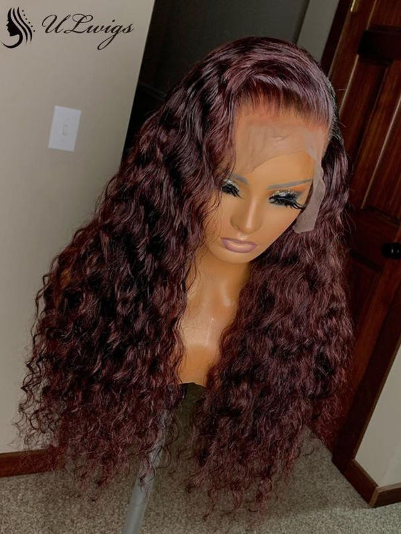 Dark 99J Color Curly Virgin Human Hair 180% Density Lace Front Wig [ULWIGS70] - ULwigs