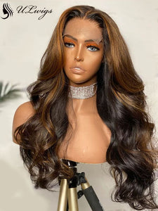 Fake Scalp Mix Brown Color Wavy Human Hair Wig 13*6 Lace Front Wig With Baby Hair ULWIGS139