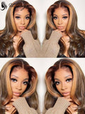 Glueless Undetectable Lace Brown Wavy 136 Lace Wig With Single Knots ULWIGS155