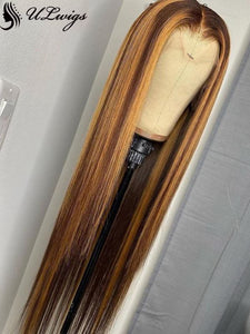 Glueless Highlight Brown Color Straight Full Lace Wig For Women [ULWIGS78] - ULwigs