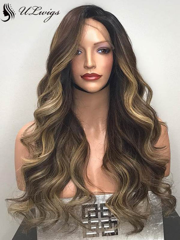 High Quality Highlight Color Body Wavy 360 Lace Frontal Wig [ULWIGS34] - ULwigs