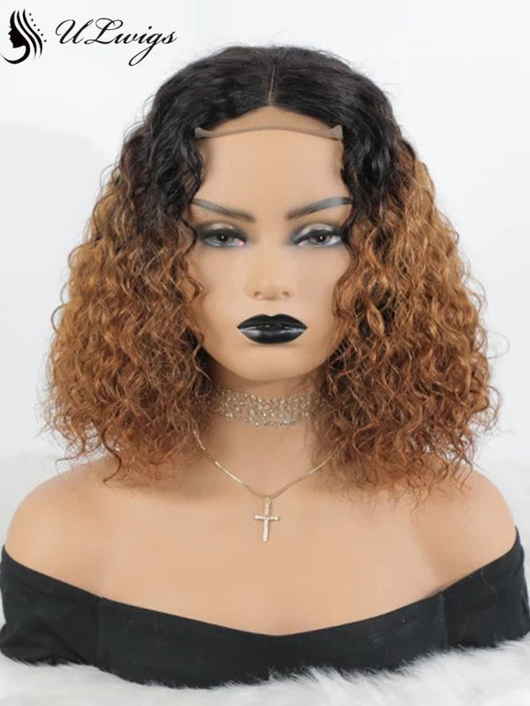 High Quality T1b/30 Ombre Color Short Bob Curly 360 Lace Frontal Wigs [ULWIGS26] - ULwigs