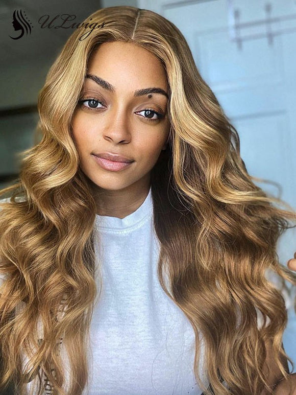 Undetectable HD Lace 13*6 Lace Front Highlight Wavy Wig With Fake Scalp ULWIGS153