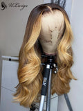 Highlight Blonde Color Wavy Preplucked 360 Lace Wig With Fake Scalp ULWIGS143